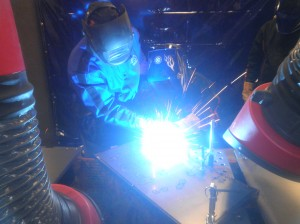 Daniel does some welding. He's actually MIG welded before, so he's technically a veteran at this.